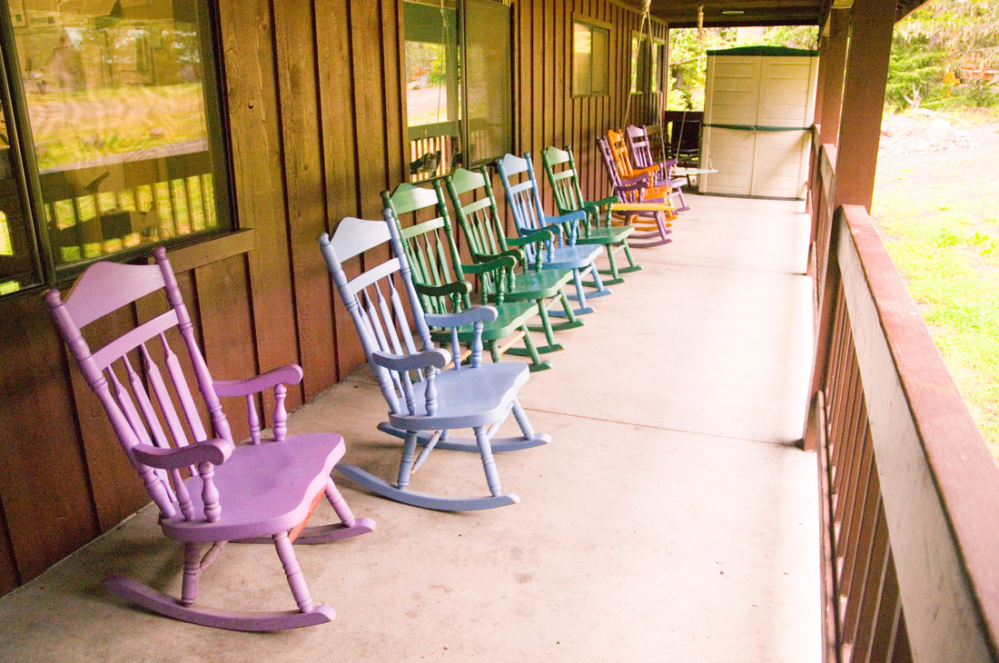 Rocking chairs on dining hall porch