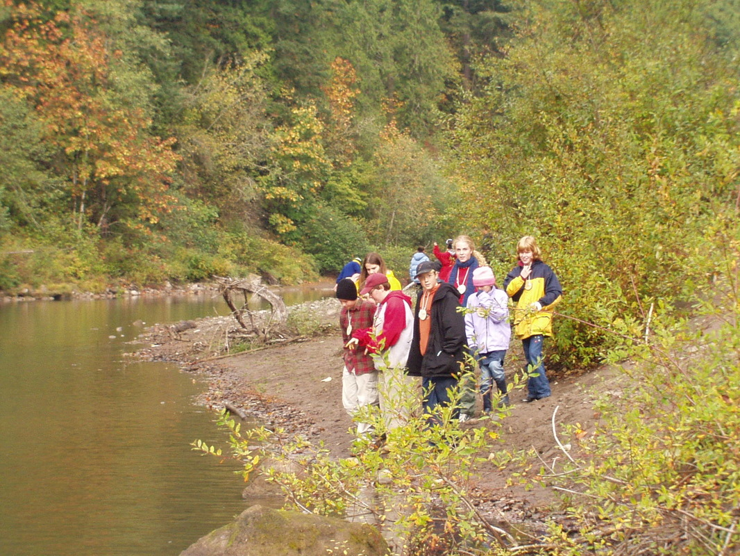 students making observations near river